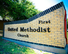 First United Methodist Church sign outside of the building