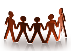 Computer generated graphic of man like figures holding hands